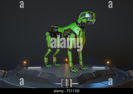 Perro robot verde se asienta sobre una base de carga. Ilustración 3D Imagen De Stock