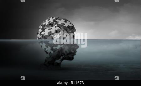 Problemas psicológicos de los niños y la psicología infantil concepto de salud mental como un símbolo de los jóvenes vulnerables que sufren depresión en la infancia. Imagen De Stock
