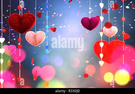 Abstract furry coloridos corazones decoradas con coloridas bokeh luz para san valentín,3D rendering Imagen De Stock