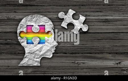 Dentro del concepto de autismo autista trastorno del desarrollo de la conciencia como un símbolo de una comunicación y el comportamiento social de la psicología. Imagen De Stock