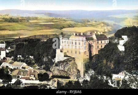 Velké Meziříčí (Castillo, 1909), la región de Vysočina, Groß, Meseritsch Schloß des Grafen, Franz Harrach Imagen De Stock