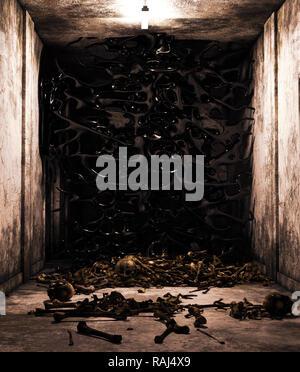 Muerte limos,pila de huesos en casa abandonada,3D rendering Imagen De Stock