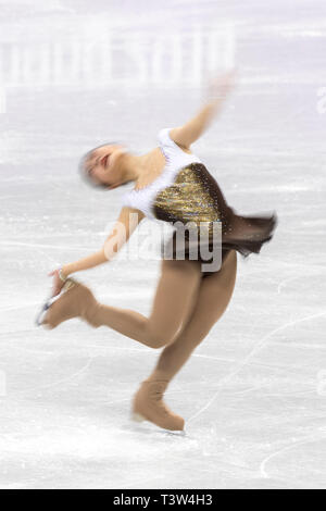 Desenfoque de movimiento de acción Hanul Kim (KOR) competir en el Patinaje artístico - Corto de damas en los Juegos Olímpicos de Invierno PyeongChang 2018 Imagen De Stock