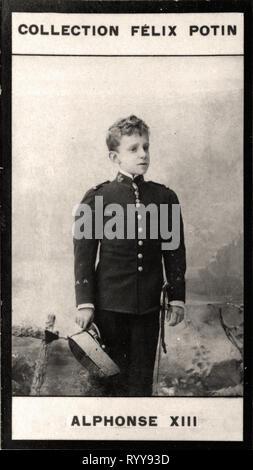Retrato fotográfico de Alphonse XIII Roi Despagne Colección de Félix Potin, de principios del siglo XX. Imagen De Stock