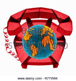 Papel doblado teléfono con marcación de globo Imagen De Stock