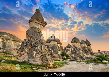 Chimeneas de las hadas, Pasabag, cerca de Zelve, Goreme, Capadocia, Turquía Imagen De Stock