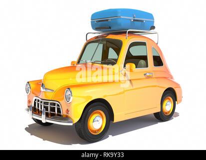 Cartoon retro coche con laggage encima aislado en blanco. Ilustración 3D Imagen De Stock