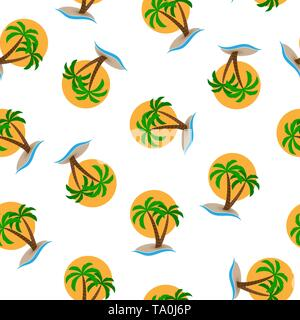 Patrón sin fisuras, isla con palmeras en el mar contra el sol de fondo. Diseño de fondos, fondos de pantalla, tapas, envases y material. Imagen De Stock