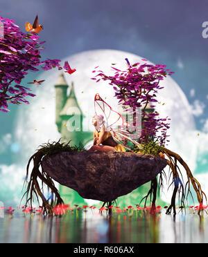 3d fantasía poco pixie en isla mítica,3d ilustración para la portada del libro o la ilustración de libros Imagen De Stock