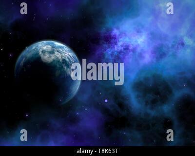 3D Render de un espacio abstracto escena con planeta ficticio Imagen De Stock
