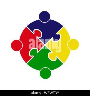 El trabajo en equipo. Círculo en la forma de un rompecabezas de cuatro piezas. Diseño plano Imagen De Stock