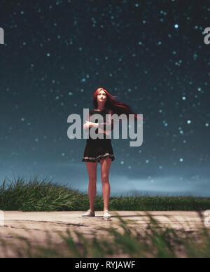 Chica caminar solo en la noche estrellada,3D rendering Imagen De Stock