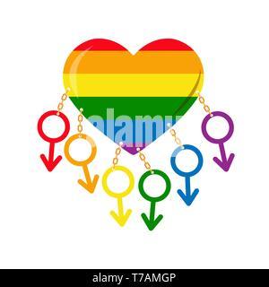 Símbolos de masculinidad en los colores de los GLBT encadenado al corazón en los colores de los LGBT Imagen De Stock