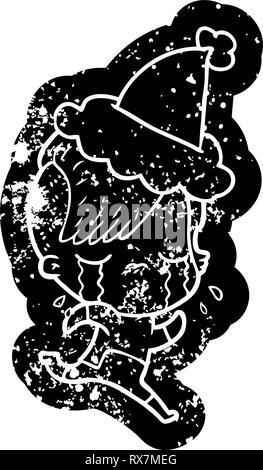 Estrafalario cartoon afligido icono de un llanto espacio vestida de ropa vistiendo gorro de Papá Noel Imagen De Stock