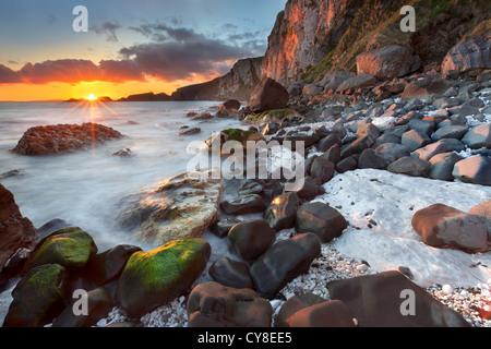 En el Larrybane antrim capturado al amanecer. Irlanda del Norte. Imagen De Stock