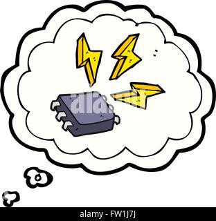 Burbuja de pensamiento dibujados a mano alzada cartoon chip informático Imagen De Stock
