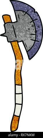 Cartoon textura dibujados a mano de un garabato hacha medieval Imagen De Stock