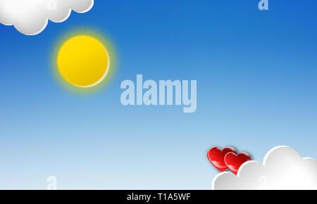 3d las nubes blancas en el cielo azul.corazón 3D de color escarlata brillante, con sombras volumétricas, aislado en un fondo azul. Elemento de diseño gráfico para la medicina, un Imagen De Stock