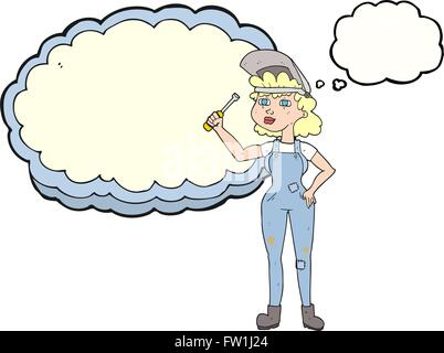 Pensamiento dibujados a mano alzada de dibujos animados de la burbuja mecánica femenina Imagen De Stock
