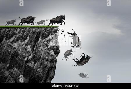 Caída de beneficios de las empresas financieras de mercado bull disminuyendo como un símbolo de perder ganancias positivas en una caída libre como un icono alcista cayera al precipicio. Imagen De Stock