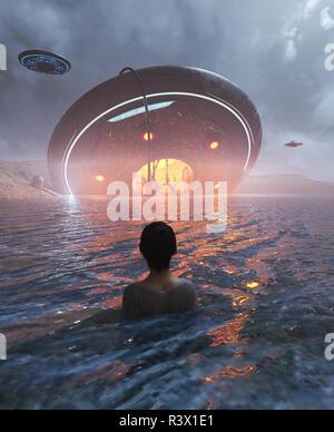 Mujer el avistamiento de un ovni estrellándose en el mar,3d ilustración Imagen De Stock