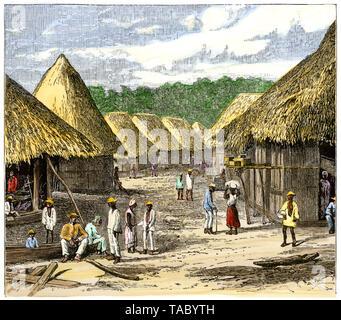 Pueblo paraguayo nativo, de 1800. Xilografía coloreada a mano Imagen De Stock