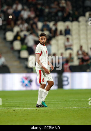 Enero 15, 2019 : Saeed Murjan palestina de Jordania durante v Jordania en el estadio Mohammed Bin Zayed, en Abu Dhabi, Emiratos Árabes Unidos, AFC Copa Asiática, campeonato de fútbol asiático. Ulrik Pedersen/CSM. Imagen De Stock