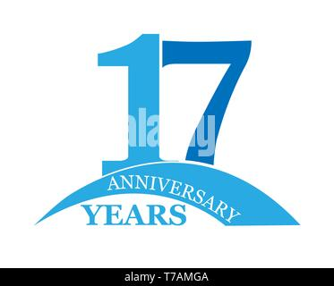 17 años aniversario, plano sencillo diseño, el logotipo Imagen De Stock