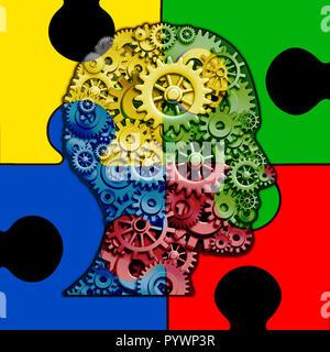 Concepto de función cerebral autismo y trastorno del desarrollo autista como símbolo de una comunicación y el comportamiento social de la psicología como una cabeza humana. Imagen De Stock