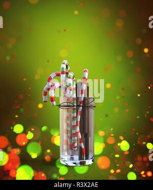 Bastón de caramelo de cristal decorado sobre fondo de colores,3D rendering Imagen De Stock