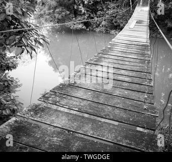 Puente colgante sobre el río en la selva del Parque Nacional Río Blanco en Toledo Belice en impresionante blanco y negro Imagen De Stock