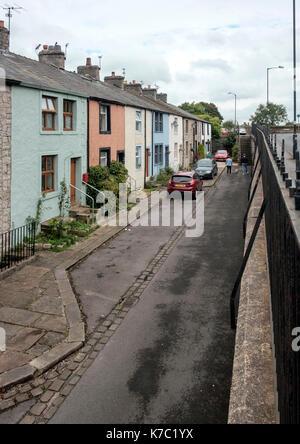 Casas adosadas en el área de mejoramiento general bawdlands clitheroe Imagen De Stock