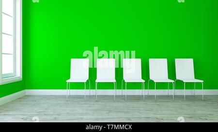 3D Render de fila de sillas en la habitación vacía contemporáneo Imagen De Stock