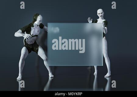 Sorprendido androides mirando en blanco signo transparente Imagen De Stock