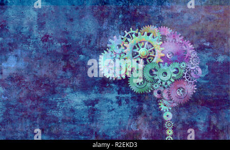 Cerebro creativo como una colorida mente concepto abstracto sobre un fondo grunge como una ilustración 3D. Imagen De Stock