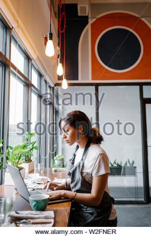 Centrado cafe hembra propietario trabajando en equipo portátil Imagen De Stock