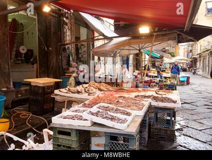 Peces en venta en Via Sopramuro - el mercado alimentario calles cerca de Porta Nolana, Nápoles Imagen De Stock