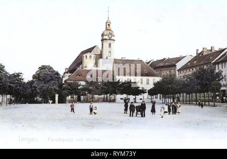 Iglesias en Torgau, 1903, Landkreis Nordsachsen, Torgau, Paradeplatz mit Kirche, Alemania Imagen De Stock