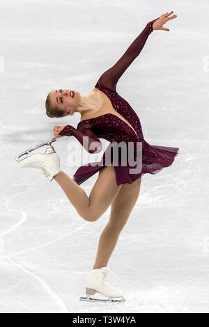 Nicole Rajičová (ESK) competir en el Patinaje artístico - Corto de damas en los Juegos Olímpicos de Invierno PyeongChang 2018 Imagen De Stock