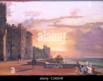 El Castillo de Windsor, por Paul Sandby. Inglaterra, siglo XVIII Imagen De Stock