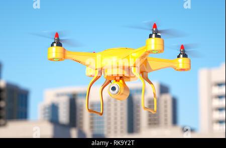Generic quadcopter con cámara de espionaje en la ciudad. Ilustración 3d Imagen De Stock