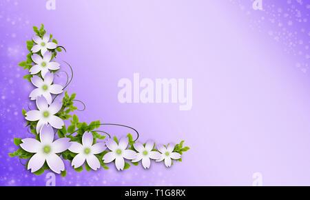 Ilustración 3d. Bouquet de flores aisladas sobre fondo lila. Adorno para el diseño de las tarjetas. Conjunto de flores a granel Imagen De Stock
