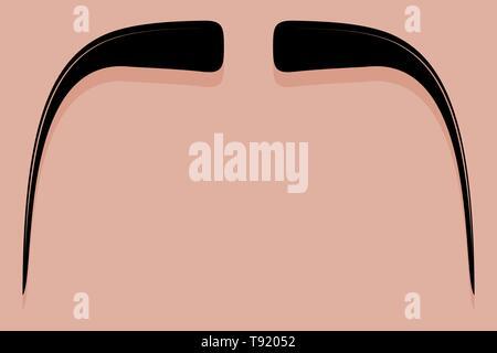 Vector en el icono bigote Fu Manchu style Imagen De Stock