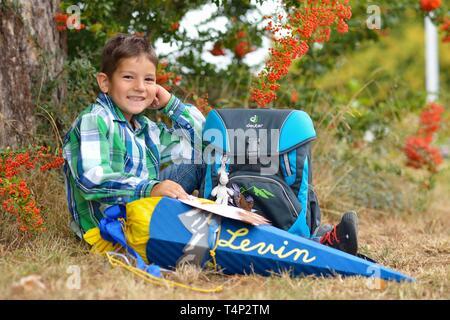 El muchacho, de 6 años, el primer día en la escuela, se sienta y sonríe con una bolsa de la escuela y la escuela cono en el árbol, Alemania Imagen De Stock