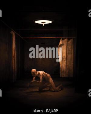 Mujer fantasma en edificio abandonado,3d ilustración Imagen De Stock