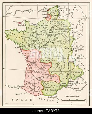 Mapa de Francia en el Tratado de Brétigny durante la Guerra de los 100 años, en 1360. Litografía de color Imagen De Stock
