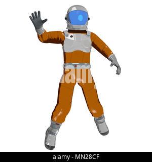 Ondeando cartoon astronauta aislado en blanco. Ilustración 3D Imagen De Stock