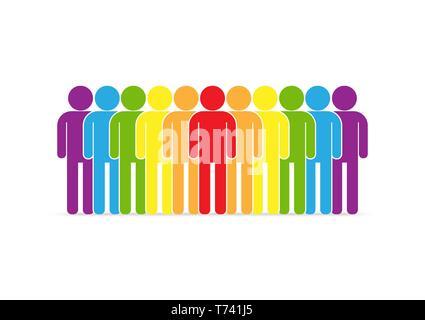 Desfile del movimiento LGBT. Las personas LGBT siluetas en colores, diseño plano Imagen De Stock