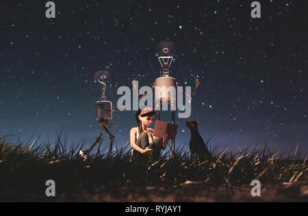 Bombilla robot dando una luz a la chica que lee un libro en la noche estrellada bagaje conceptual,3D rendering Imagen De Stock