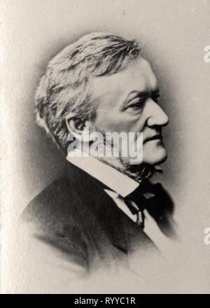Retrato fotográfico de Wagner desde la colección Félix Potin, de principios del siglo XX. Imagen De Stock